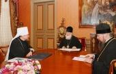 Святейший Патриарх Кирилл провел рабочую встречу с митрополитом Мурманским Митрофаном